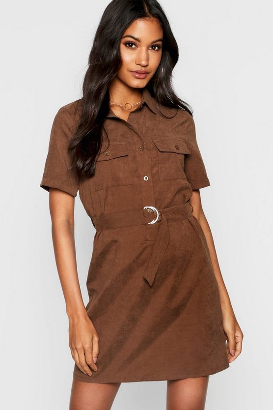 Womens Chocolate Utility Suedette Belted Shirt Dress