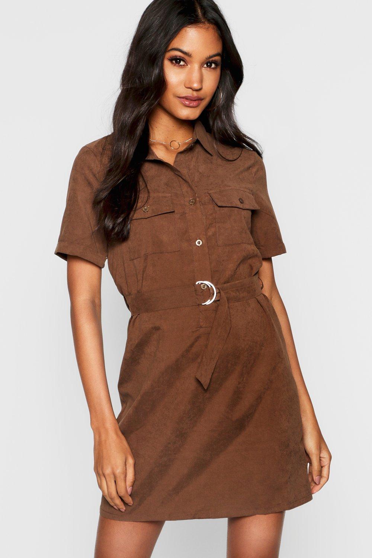 17bd27d523 Robe chemise en suédine fonctionnelle ceinturée, Chocolat, Femme. Fais  glisser pour zoomer
