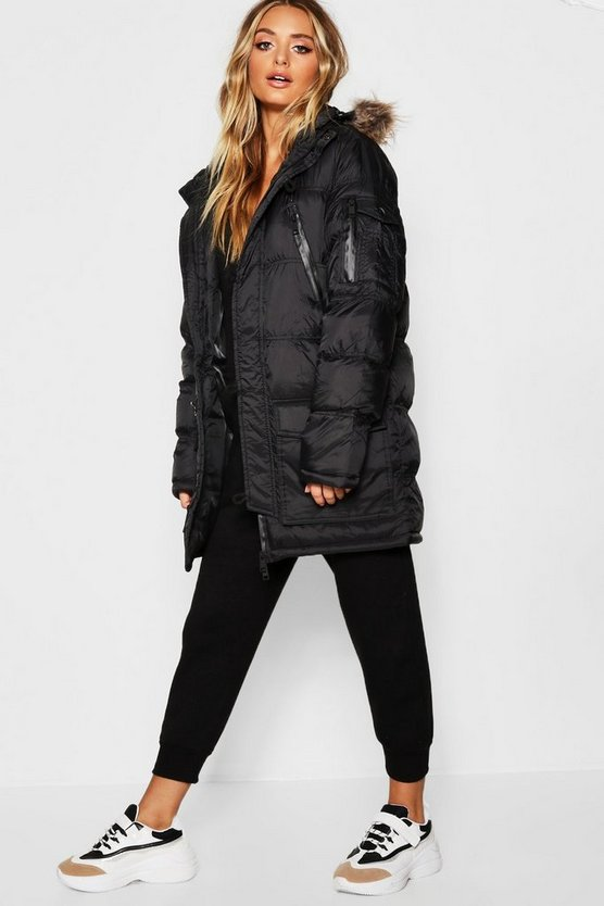 Oversized Panelled Parka