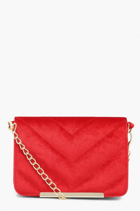 Velvet Chevron Quilted Cross Body