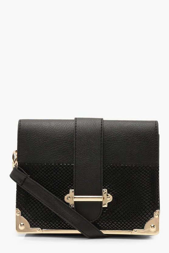 Metal Trim & Bar Snake Block Cross Body
