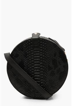 Black Structured Round Drum Cross Body Bag