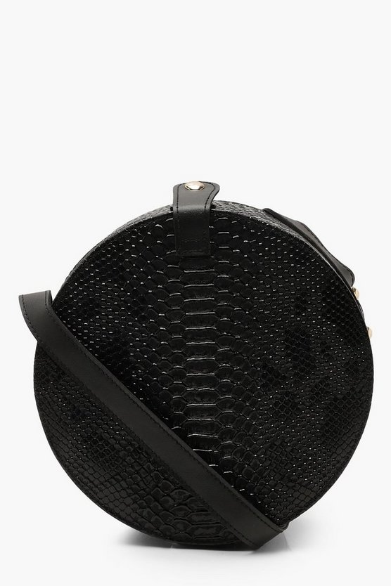 Womens Black Structured Round Drum Cross Body Bag