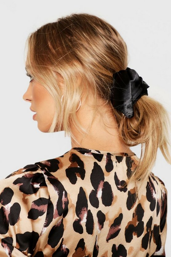 Womens Black Satin Hair Tie