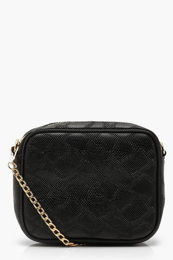 Womens Black Faux Snake Camera Bag