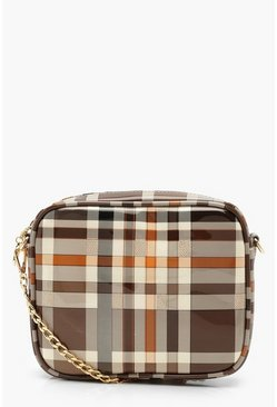 Womens Brown All Over Patent Check Camera Bag