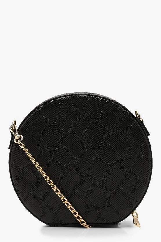 Womens Black Faux Snake Structured Round Bag