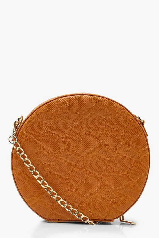 Faux Snake Structured Round Bag