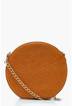 Womens Mustard Faux Snake Structured Round Bag