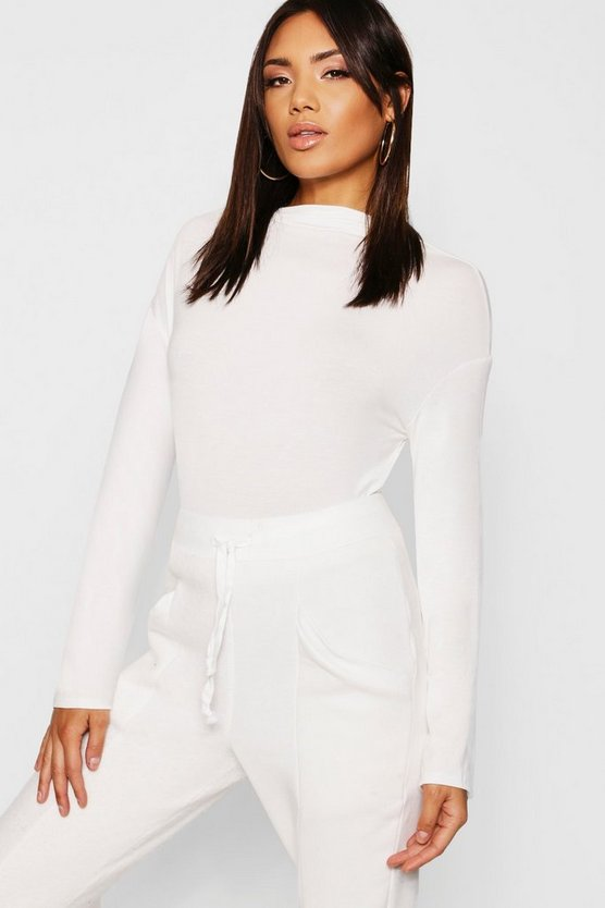 Ivory Basic Funnel Neck Long Sleeve Top