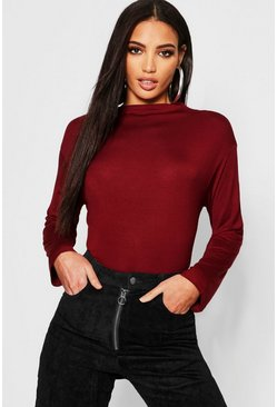 Womens Wine Basic Funnel Neck Long Sleeve Top