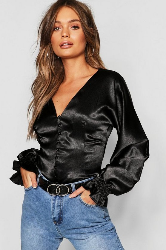 Womens Black Satin Button Fitted Blouse