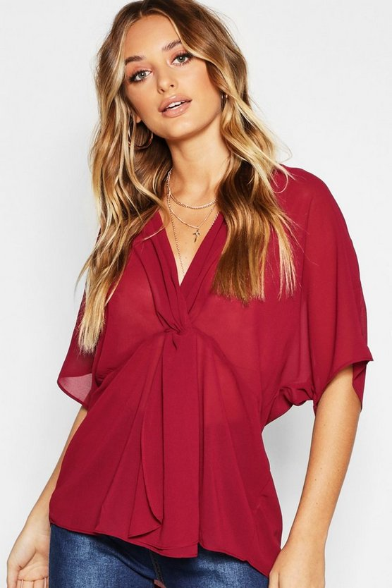 Woven Knot Front Blouse