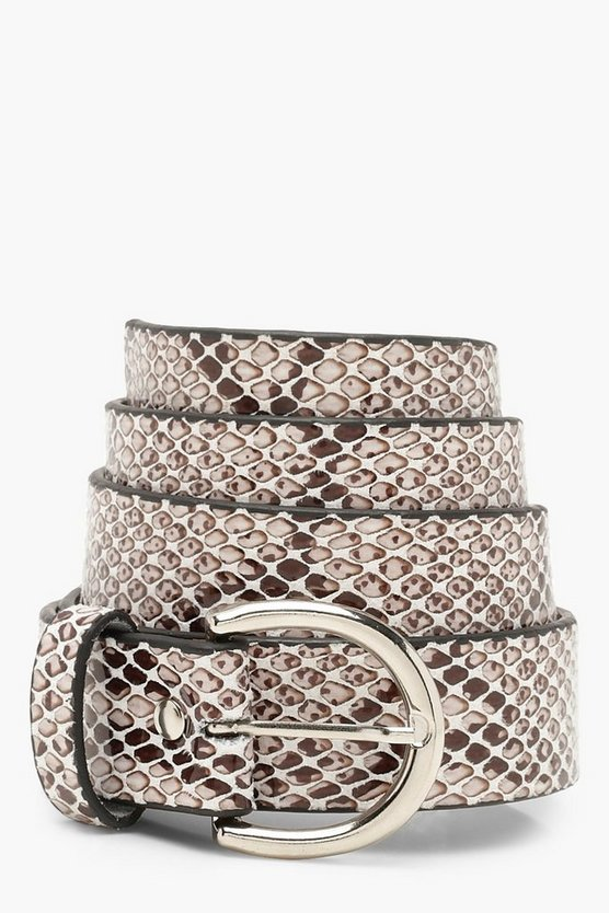 Womens Grey Faux Python Snake Boyfriend Belt