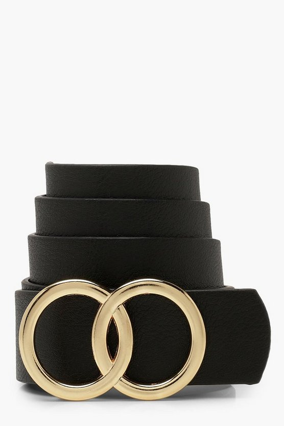 Womens Black Double Ring Detail Boyfriend Belt