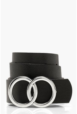 Womens Black Double Buckle Boyfriend Belt