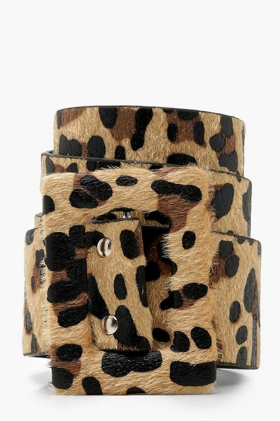 Womens Natural Wide Self Buckle Leopard Belt