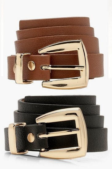 Womens Multi 2 Pack Chunky Buckle Skinny Belt