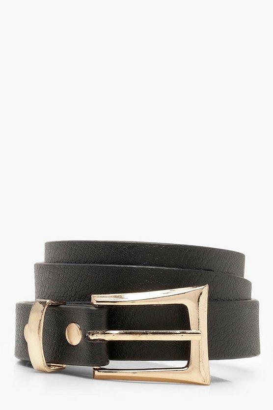 Womens Black Chunky Buckle Skinny Belt
