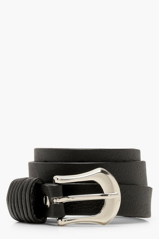 Black Multi Tab Detail Skinny Belt