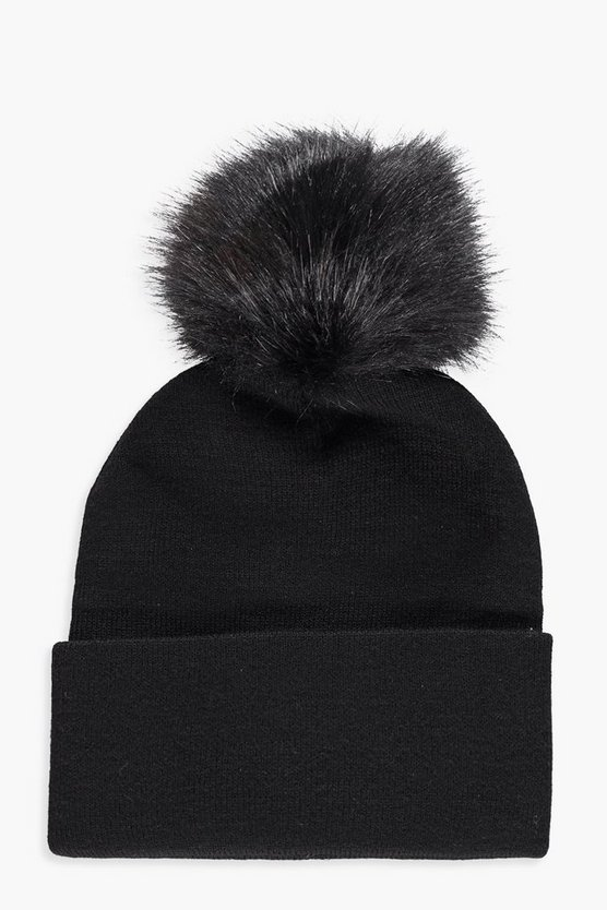 Womens Black Faux Fur Pom Turn Up Beanie