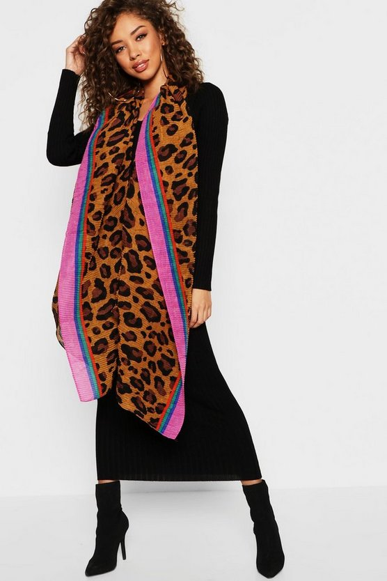 Pleated Rainbow Trim Leopard Scarf