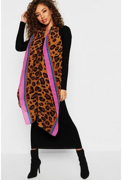 Womens Natural Pleated Rainbow Trim Leopard Scarf
