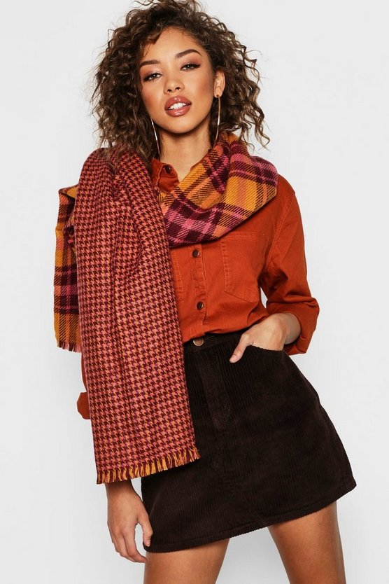 Oversized Reversible Mustard Check Scarf
