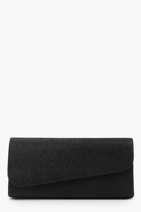 Womens Black Structured Asymmetric Clutch & Chain