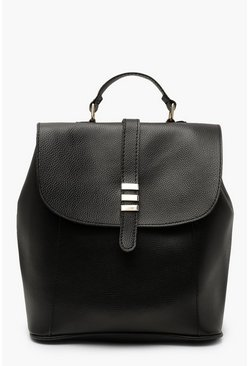 Womens Black Bar & Tab Flap Rucksack