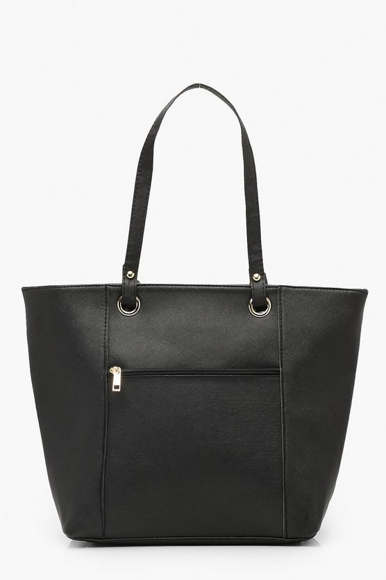 Borsa shopper con tasca con anello, Nero, Femmina