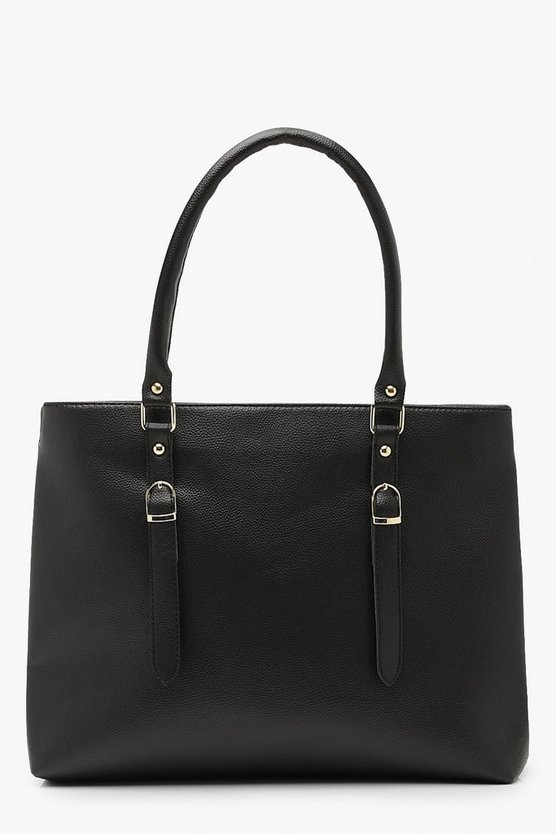 Womens Black Double Buckle Detail Shopper Tote