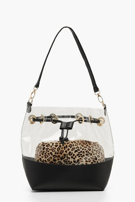 Leopard Pouch Clear Duffle Bag