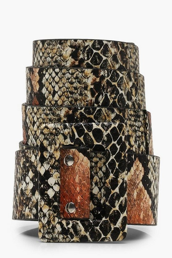 Womens Rust Faux Python Wide Buckle Belt