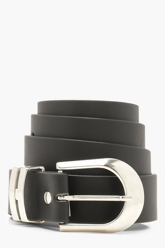 Womens Double Bar Buckle Boyfriend Belt