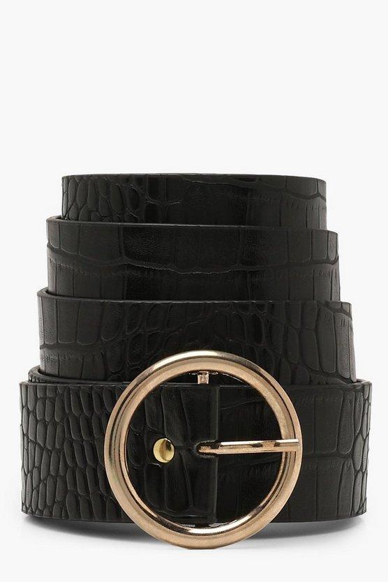 Womens Black Croc Circle Buckle Boyfriend Belt