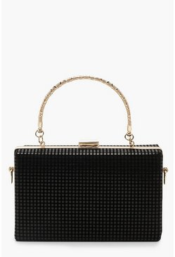 Womens Black Chainmail Effect Box Clutch With Handle