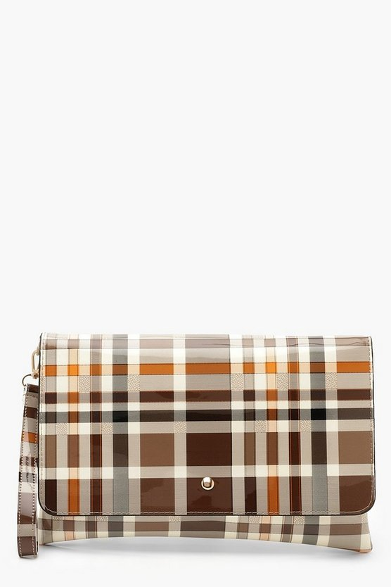 All Over Patent Check Oversized Clutch