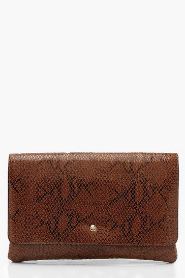 Womens Brown Oversized Popper Envelope Clutch & Chain