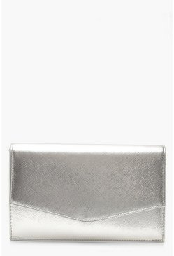Womens Crosshatch Envelope Clutch & Chain