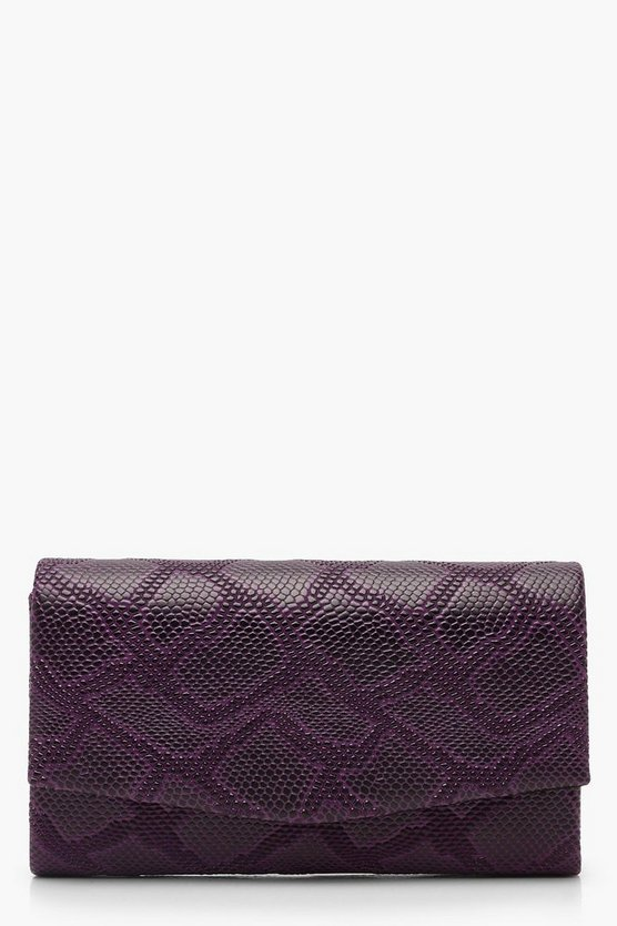 Faux Snake Structured Clutch & Chain