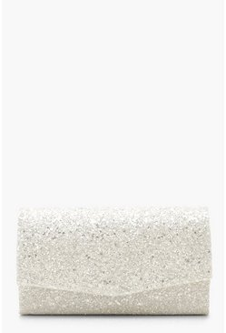 Womens White Chunky Glitter Structured Clutch Bag