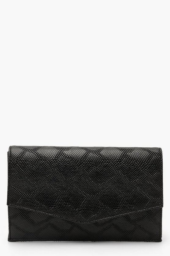 Womens Black Faux Snake Envelope Clutch With Chain