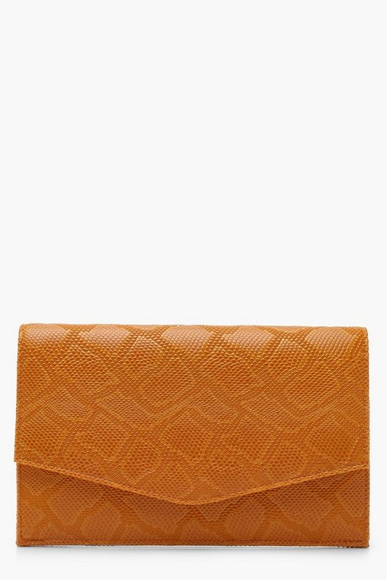 Faux Snake Envelope Clutch With Chain