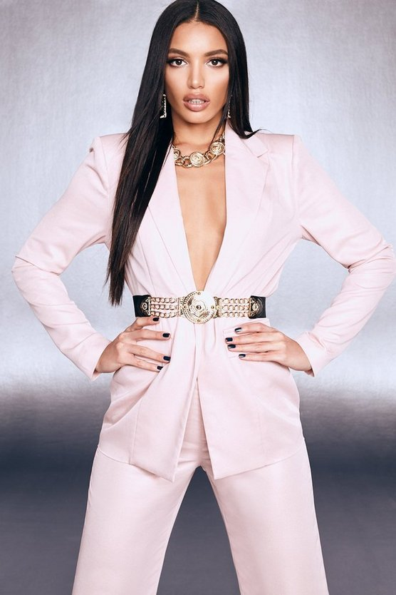 Blush Premium Foiled Satin Blazer With Shoulder Pads