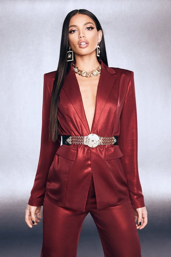Premium Foiled Satin Blazer With Shoulder Pads