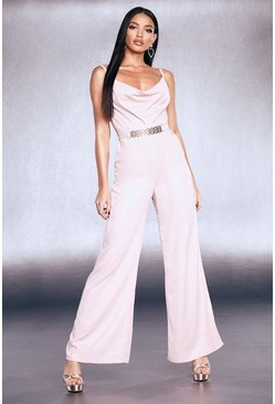 Womens Blush Premium Foiled Satin Chain Belt Cowl Jumpsuit