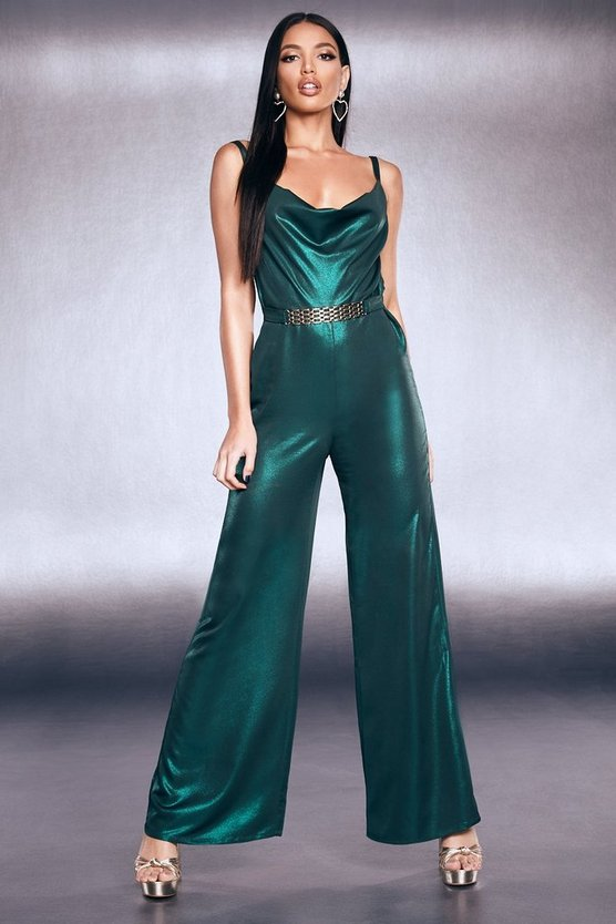 Premium Foiled Satin Chain Belt Cowl Jumpsuit