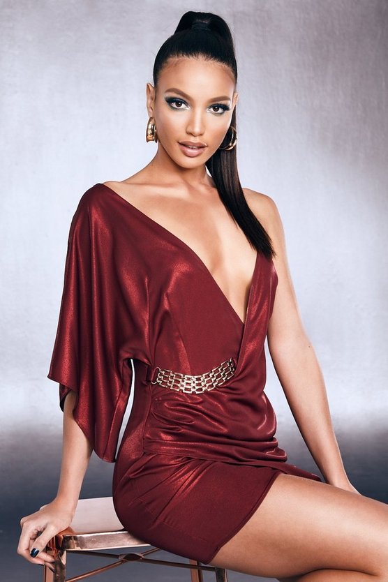 Premium Foiled Satin One Shoulder Chain Belt Dress