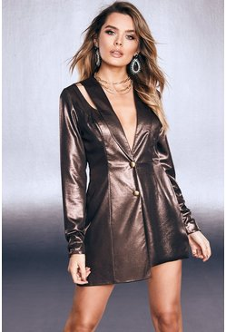 Womens Black Premium Foiled Satin Tux Playsuit